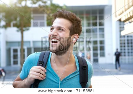 Male College Student Walking On Campus
