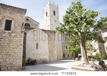 Village square in Saint Paul de Vence Provence France.