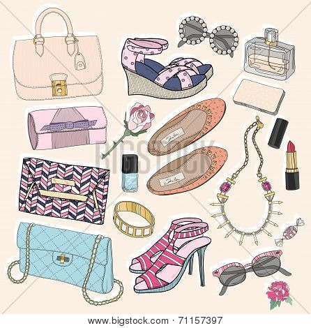 Fashion Accessories Set. Background With Bags, Sunglasses, Shoes, Jewelery, Makeup And Flowers.