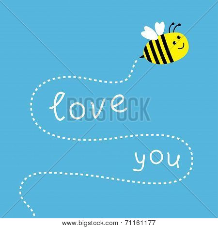 Flying Bee. Dash Line In The Sky. Card