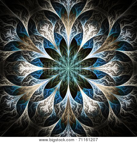 Beautiful Fractal Flower In Black, Beige And Blue. Computer Generated Graphics.