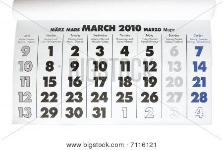 Calendar sheet -   March 2010