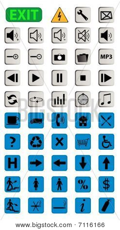Set of 49  icons on gray and blue buttons