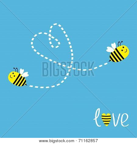 Two Flying Bees. Dash Heart In The Sky. Card