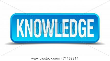 Knowledge Blue 3D Realistic Square Isolated Button
