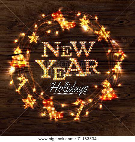 New year wreath garland poster