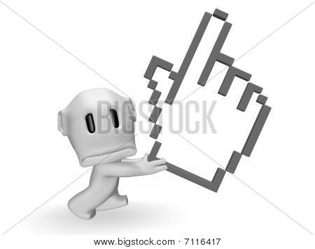 caricature of a sad man with hand cursor pixel