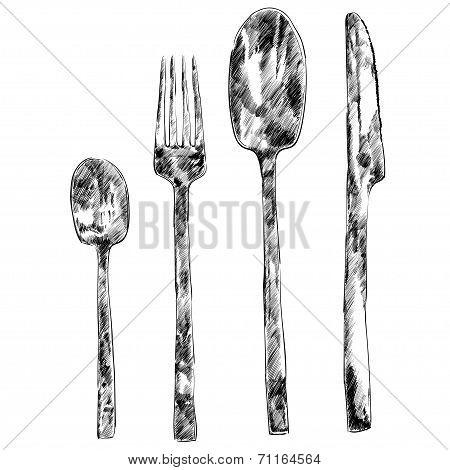 Set for restaurant menu. Spoon, knife and fork