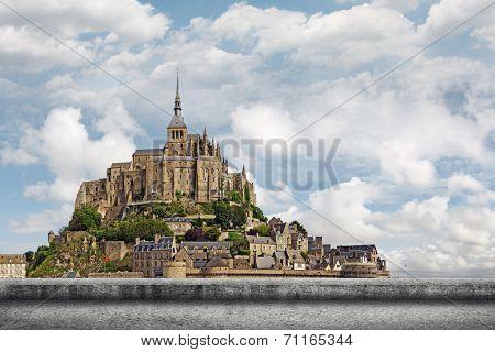 Landscape of Mont Saint-Michel, the famous UNESCO World Heritage Site in France, Europe.