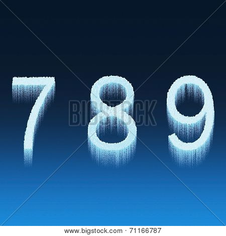 Icing Alphabet Digit Number 7 8 9 Seven, Eight, Nine Isolated On Blue