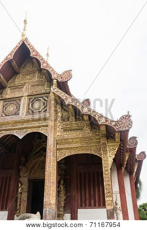 Ancient Lanna Style Of Wooden Temple In Chiang Mai, Thailand