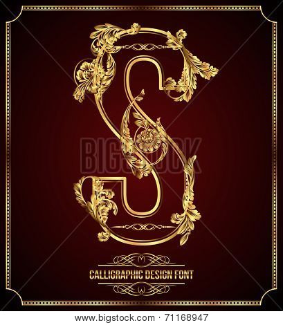 Calligraphic Design Font with Typographic Floral Elements. Premium design elements on dark background. Page Decoration. Retro Vector Gold Letter S