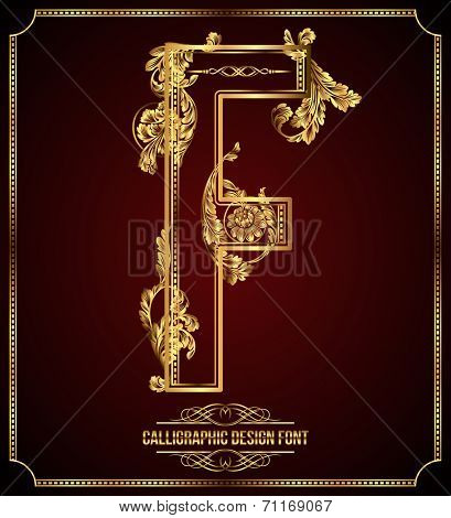 Calligraphic Design Font with Typographic Floral Elements. Premium design elements on dark background. Page Decoration. Retro Vector Gold Letter F