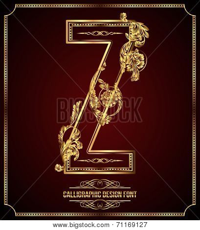 Calligraphic Design Font with Typographic Floral Elements. Premium design elements on dark background. Page Decoration. Retro Vector Gold Letter Z