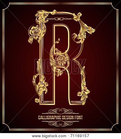 Calligraphic Design Font with Typographic Floral Elements. Premium design elements on dark background. Page Decoration. Retro Vector Gold Letter R