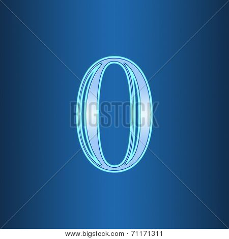 Glowing Neon Number On Blue Background. Letter 0 Zero