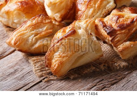 Pies Of Puff Pastry Close Up Horizontal