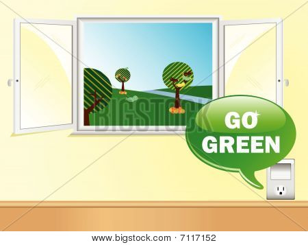 Electric Outlet Saying Go Green with Beautiful Window