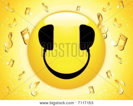 Smiley DJ Background with Music Notes and Stars