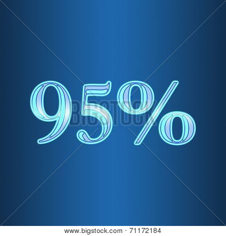 95 Ninety Five Percent Off Neon Isolated On Blue Background