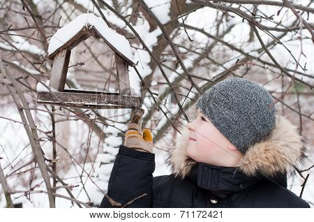 The Boy Feeds The Birds In The Feeder In Winter