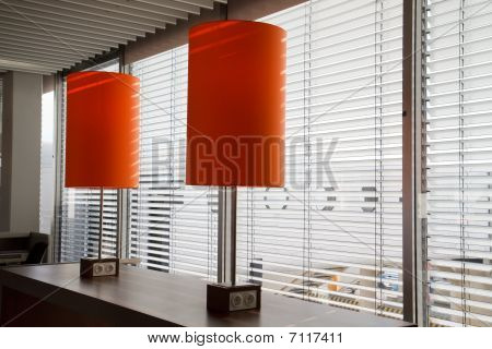 Airport Desk With Orange Lamps