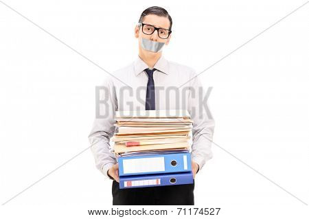 Man with duct taped mouth holding documents isolated on white background