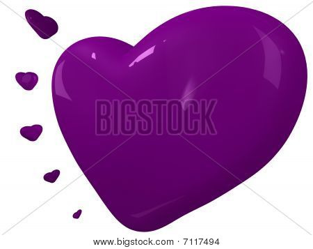Purple Hearts For A Valentines Card