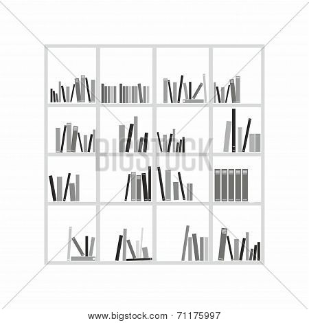 Books on the shelves