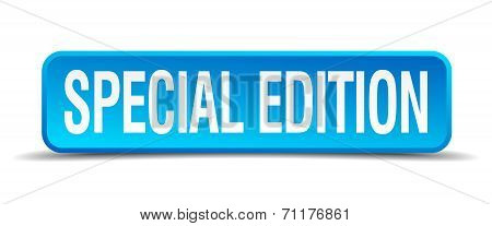 Special Edition Blue 3D Realistic Square Isolated Button