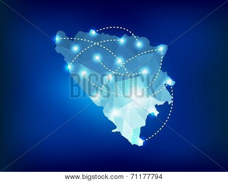Bosnia And Herzegovina Country Map Polygonal With Spot Lights Places