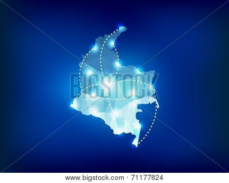 Colombia Country Map Polygonal With Spot Lights Places