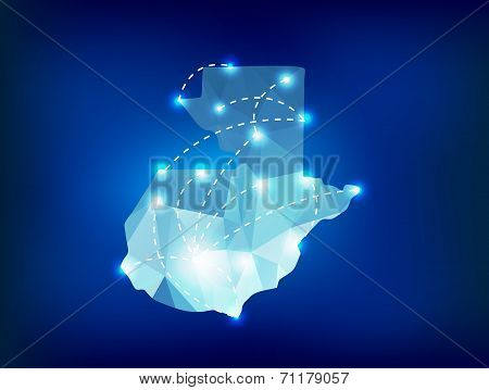 Guatemala Country Map Polygonal With Spot Lights Places