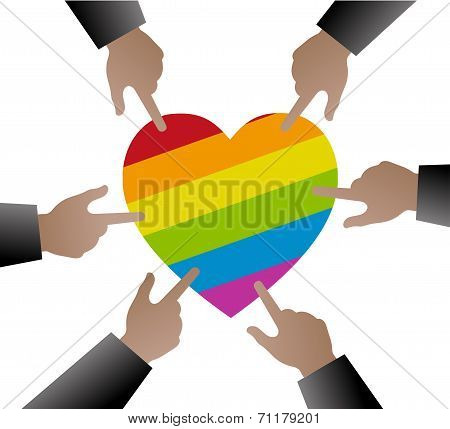 Hands People Used To Point The Gay Flag On Heart Shape