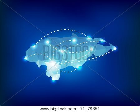 Honduras Country Map Polygonal With Spot Lights Places
