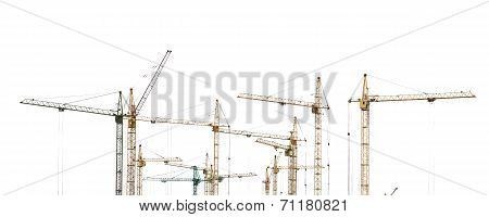 Yellow hoisting cranes isolate