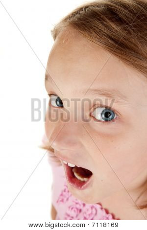 Amusing Portrait On A Young Girl On White