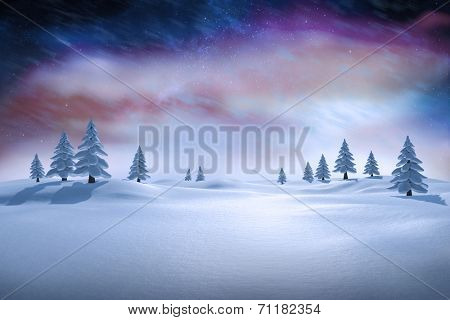 White snowy landscape with fir trees against aurora night sky in purple
