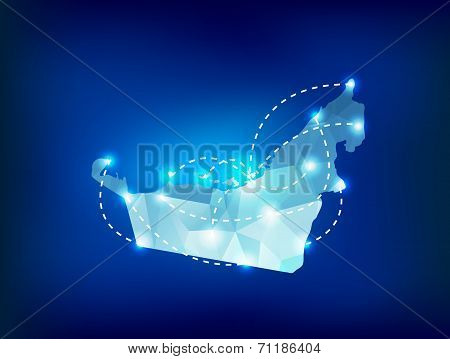 United Arab Emirates Country Map Polygonal With Spot Lights Places