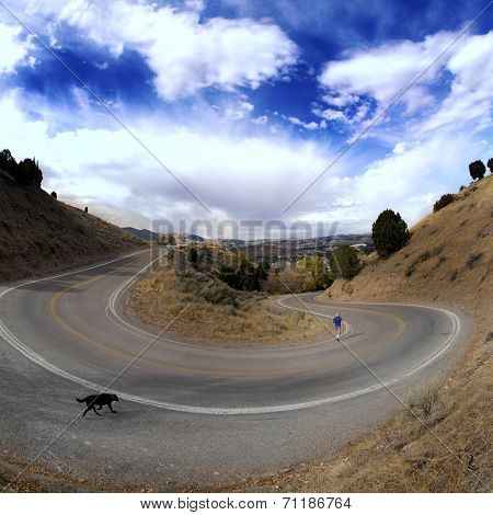 Country road with painted double yellow lines and big curve or turn