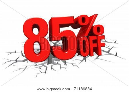 3D Render Red Text 85 Percent Off On White Crack Hole Floor.