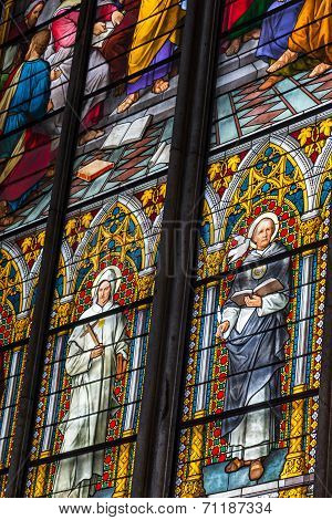 Cologne, Germany - August 26: Stained Glass Church Window With Pentecost Theme In The Cathedral On A