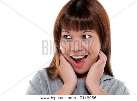 Happy And Surprised Woman