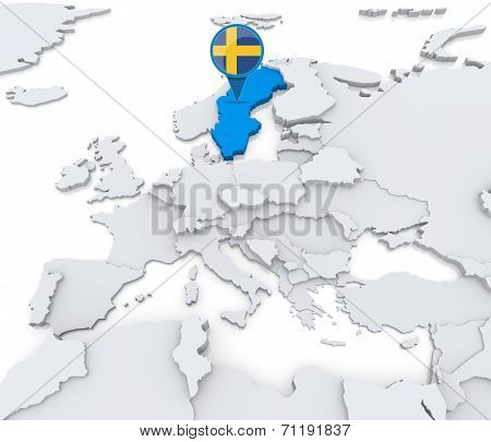 Sweden On A Map Of Europe
