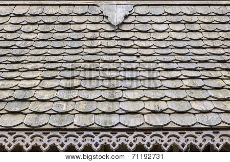 Wooden roof tile in Thailand