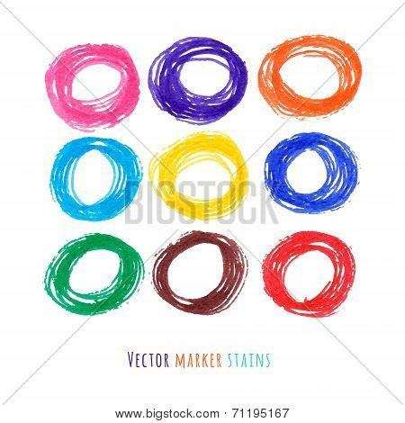 Colorful Vector Marker Circle Stains Set