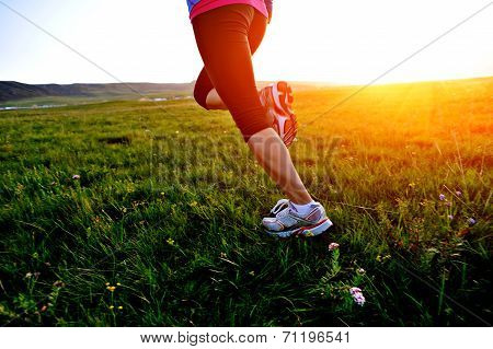 Runner athlete running legs on grass seaside.