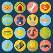picture of bag-of-dog-food  - Pets icons set with cat dog fish rabbit isolated vector illustration - JPG