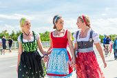 picture of national costume  - Friends visiting together Bavarian fair in national costume or Dirndl - JPG