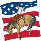 stock photo of vaquero  - Illustrated saddle bronc rider with American flag background - JPG